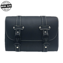 Motorcycle Saddle Bags Black Vintage PU Leather Side Tool Pouch Tail Bag Handbags 1 piece