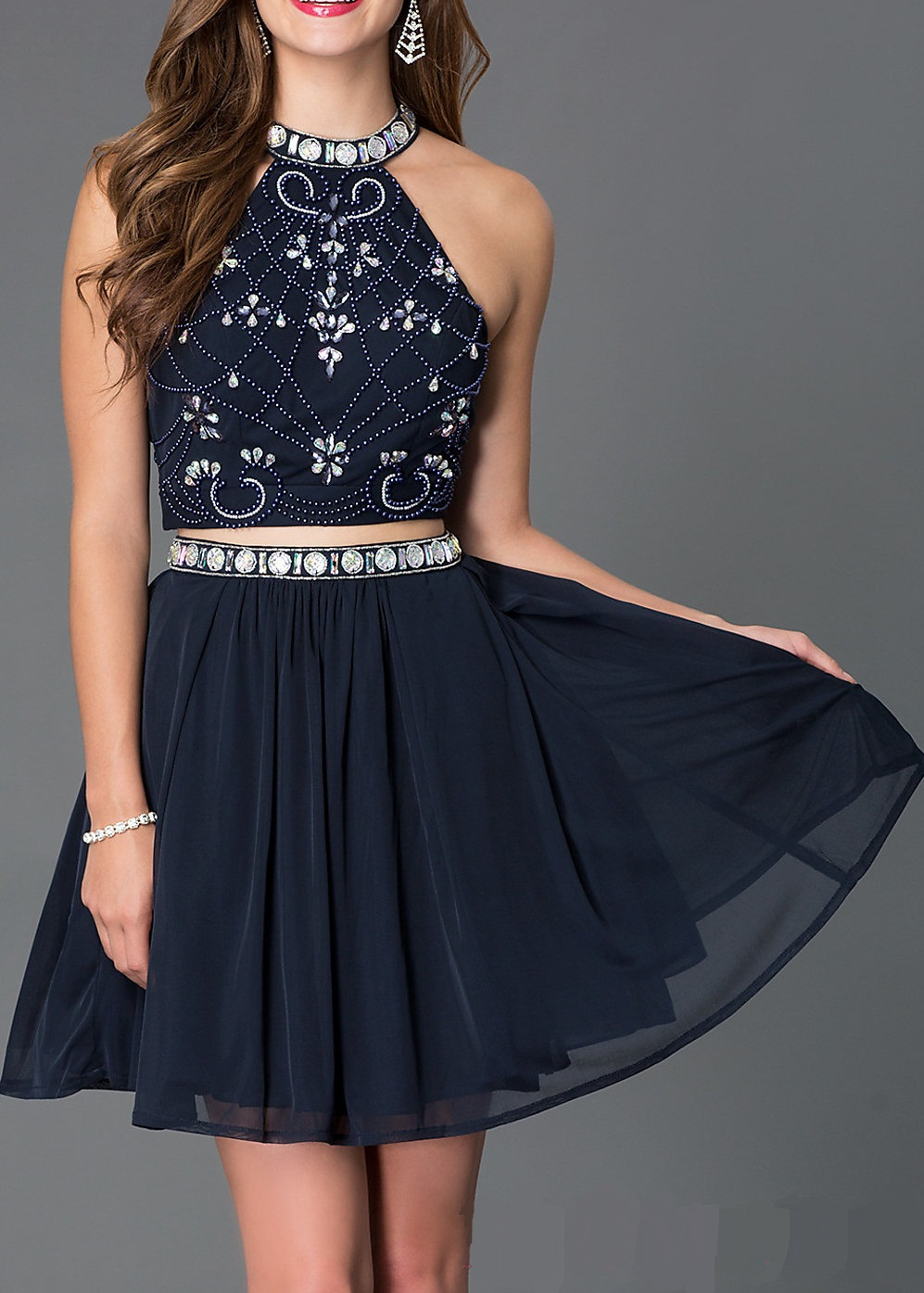 Buy 2019 Attractive 2 Piece Halter Beading Short Graduation Dresses Strapless Zip Back Sleeveless Homecoming Cocktail Party Dress for only 114.49 USD