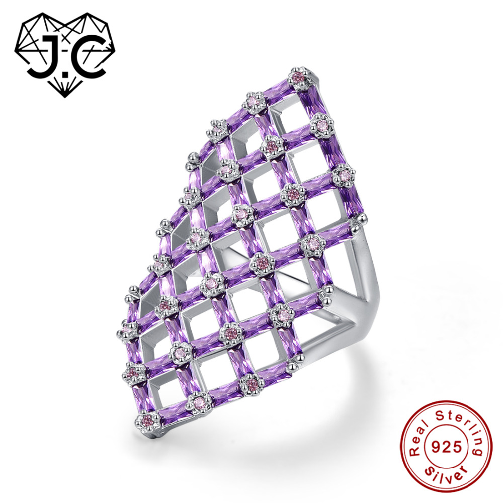 цена на J.C Hollow Square Design Emerald Cut Amethyst Pink & White Topaz Ruby Spinel 925 Sterling Silver Ring Size 6 7 8 9 Fine Jewelry