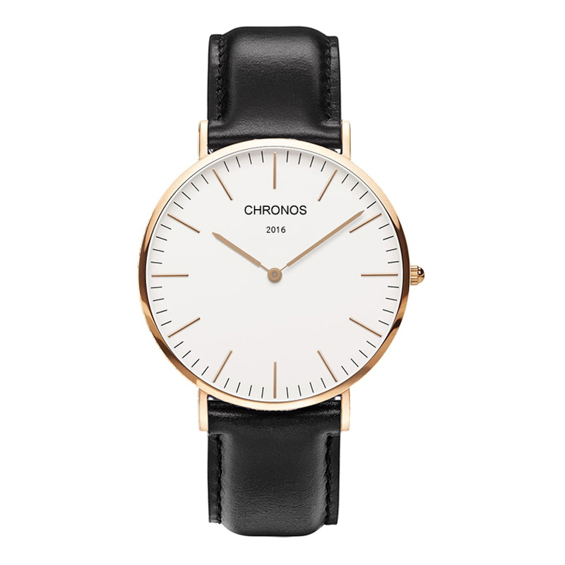 CHRONOS 2016 Mens Watches Top Brand Luxury Casual Quartz Rose Gold Silver Clock Relogio Masculino Horloges Vrouwen Ladies Watch orkina brand clock 2016 new luxury chronograph rose gold case black dial japan movement mens wrist watch cool horloges