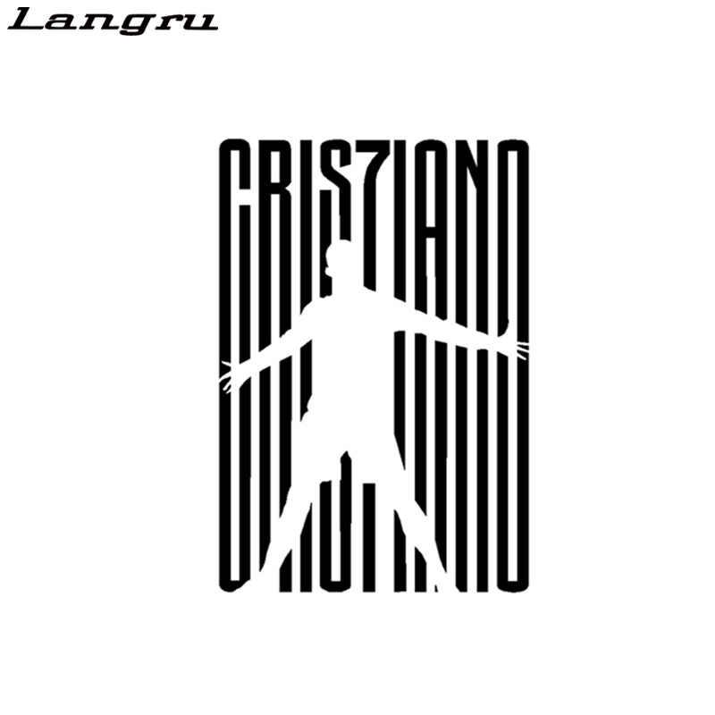 Etiqueta engomada del coche Langru Italia Fútbol Cristiano Ronaldo Cr7 silueta n. ° 7 pegatinas creativas tableta portátil Auto Tuning Jdm