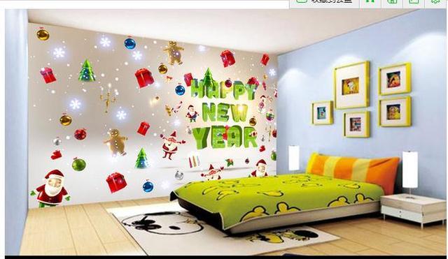 3d wallpaper 2015 new now woven happy new year cartoon santa claus children bedroom