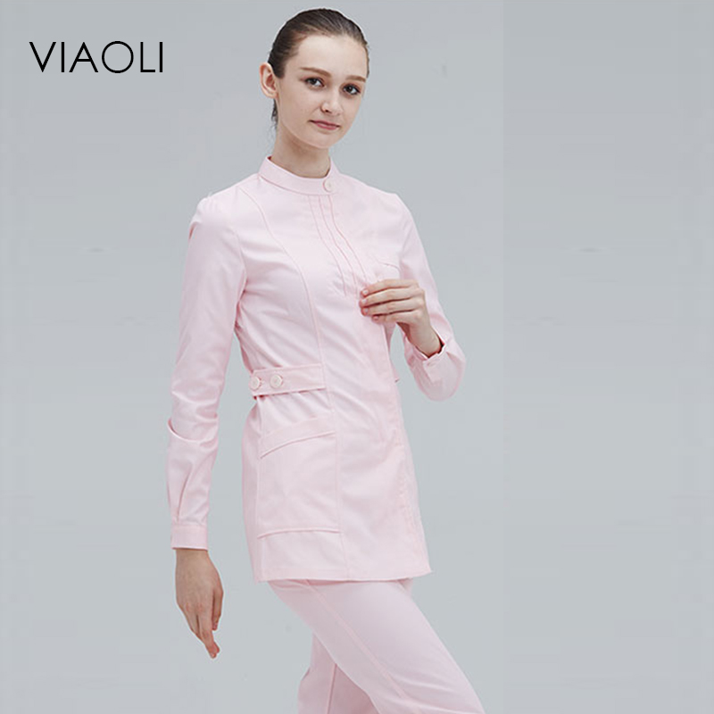 VIAOLI Surgical Medical Hand-washing Long-sleeved Collar Lady Medical Suit Dental Clinic Doctor Nurse Overalls White Coat New