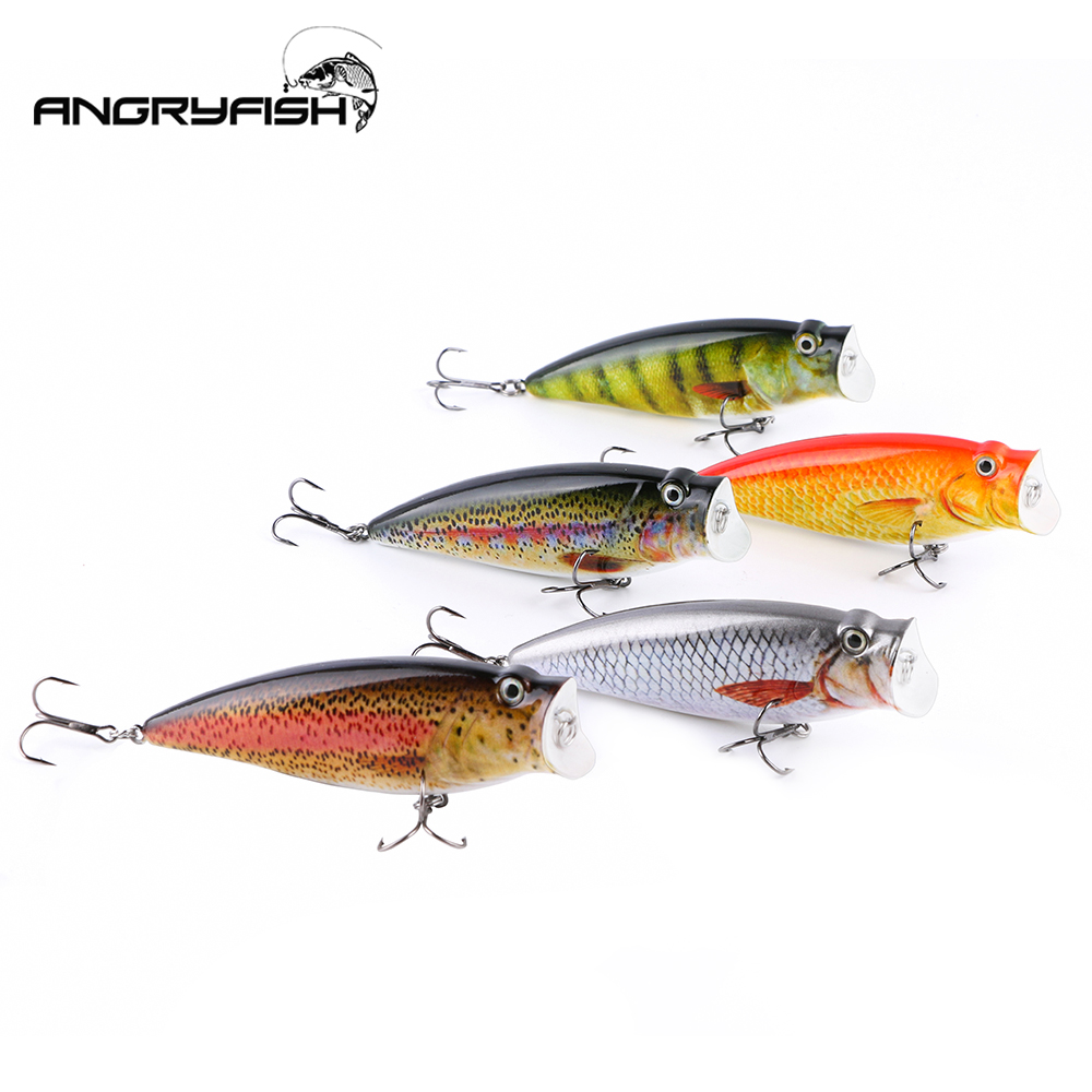 ANGRYFISH NEW Hot Sale 95mm 18g Fishing Lure Lifelike Artificial Bait Set 5 Colors Hooks(China)
