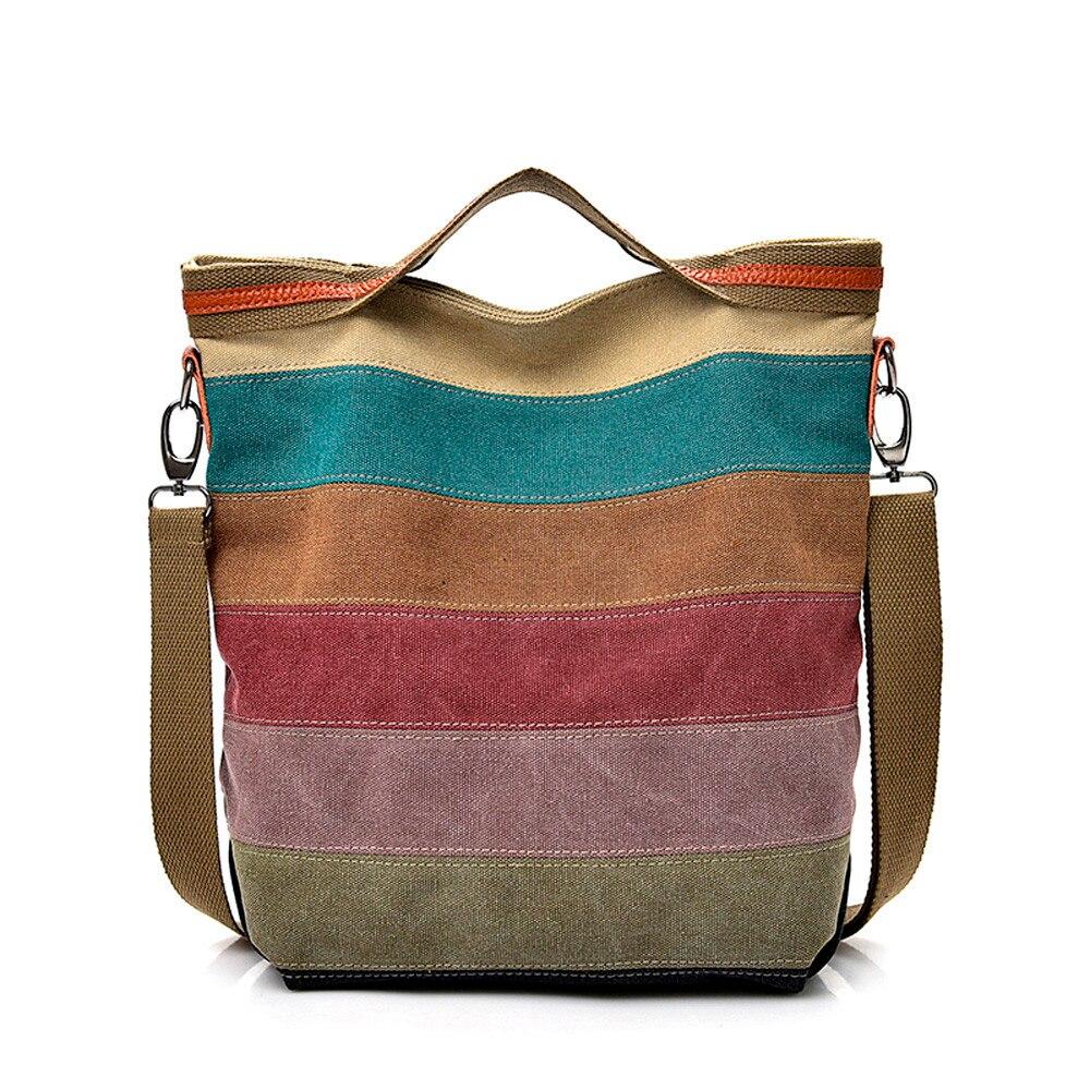 Casual handbag Women Canvas Splice Stripe Crossbody Shoulder Bag casual Totes super quality bolsa feminina 2