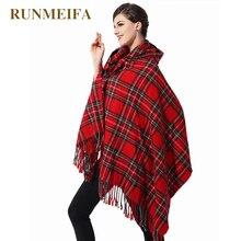 [RUNMEIFA] 2019 Giovane Ragazza della boemia poncho e mantelle di modo sciarpa della nappa del plaid con cappuccio mantello del capo femminile vestiti delle donne poncho