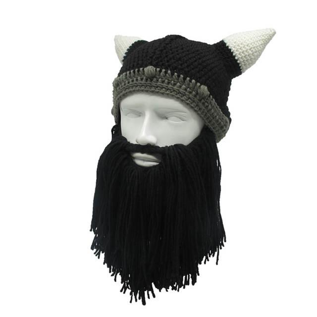 d1b3cfde 1PC Men Women Handmade Knit Barbarian Viking Beanie Beard Horn Hat Winter  Warm Cap Cool Funny Gag Halloween Party Xmas Gifts