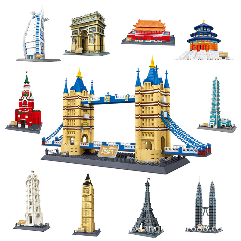 купить Wange World Famous Great Architecture Model set classic City Building Blocks Bricks education Toys for Children collection Gift по цене 2745.76 рублей