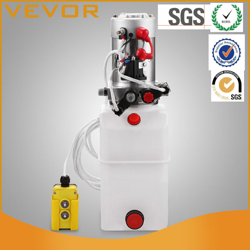 Mophorn 12V Hydraulic Pump Double Acting Hydraulic Power With Remote 6 Quart Plastic Hydraulic Pump Tank For Dump Tuck Unloading