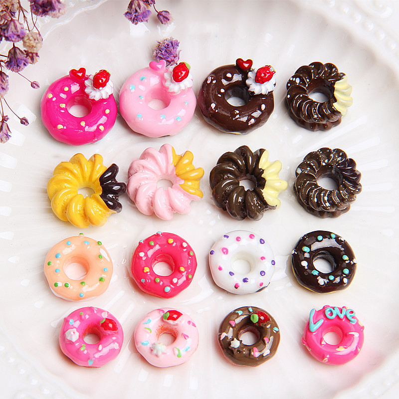 10 PCS MIXED ICE TOPPED SPRINKLE DOUGHNUTS DONUT CAKE FOOD CABOCHON FLATBACK DIY