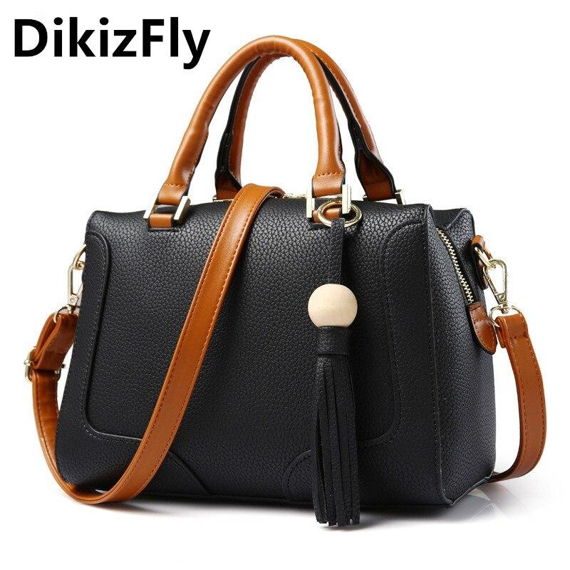 DikizFly Boston bag women shoulder bags Ladies handbag women PU Leather messenger bag sac 2017 woman bags handbags famous brand