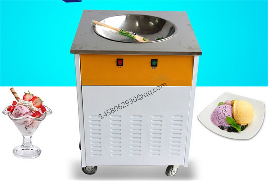 China professional SINGLE POT Stainless steel Ice Pan Machine,Fried ice Cream Machine, One Pan roll ice cream maker full stainless steel one pan fried ice cream roll machine pan fry flat ice cream maker yoghourt fried ice cream machine
