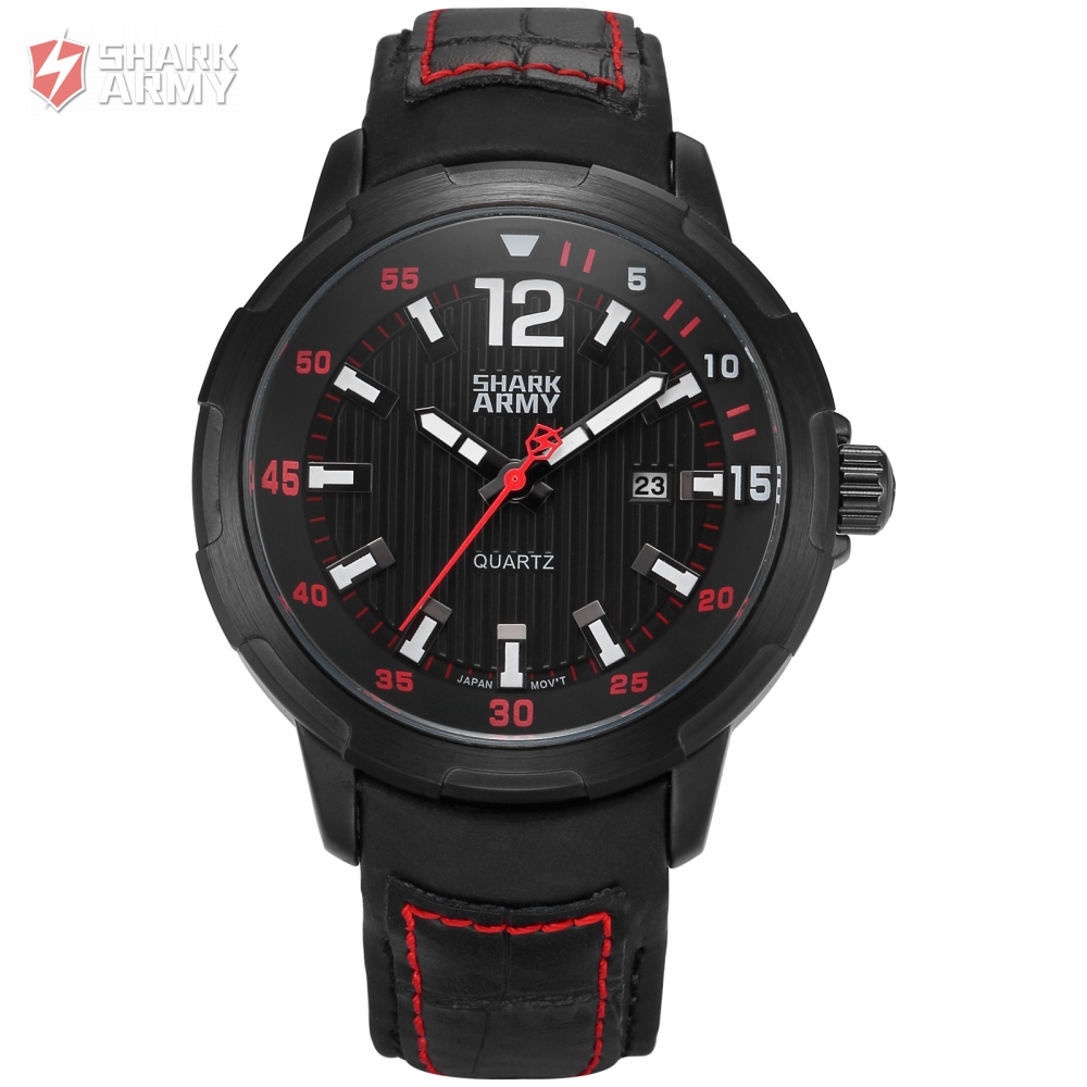 AVENGER Shark Army Brand Black Red Auto Date Display Leather Band Male Clock Men Sports Military Quartz Wrist Watch/SAW155 voodoo ii shark army auto date black silicone strap military wristwatch sports clock men military quartz wrist watches saw177