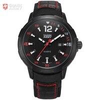 AVENGER Shark Ordu Marka Siyah Kırmızı Oto Date Display Deri Kayış Erkek Saat Erkek Spor Askeri Kuvars Bilek İzle/SAW155