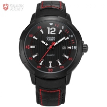 AVENGER Shark Army Brand Black Red Auto Date Display Leather Band Male Clock Men Sports Military Quartz Wrist Watch/SAW155