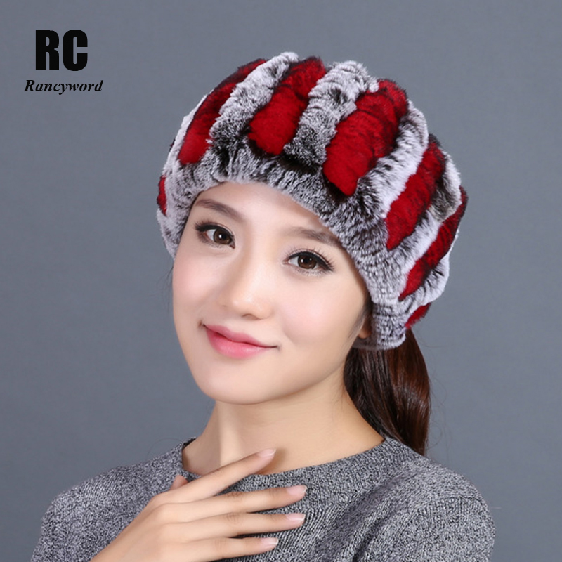 [Rancyword] Winter Fur Headband Women Knit Genuine Rex Rabbit Fur Headbands Neck Scarf Real Fur Caps Ear Warmer Head Wrap RC1317