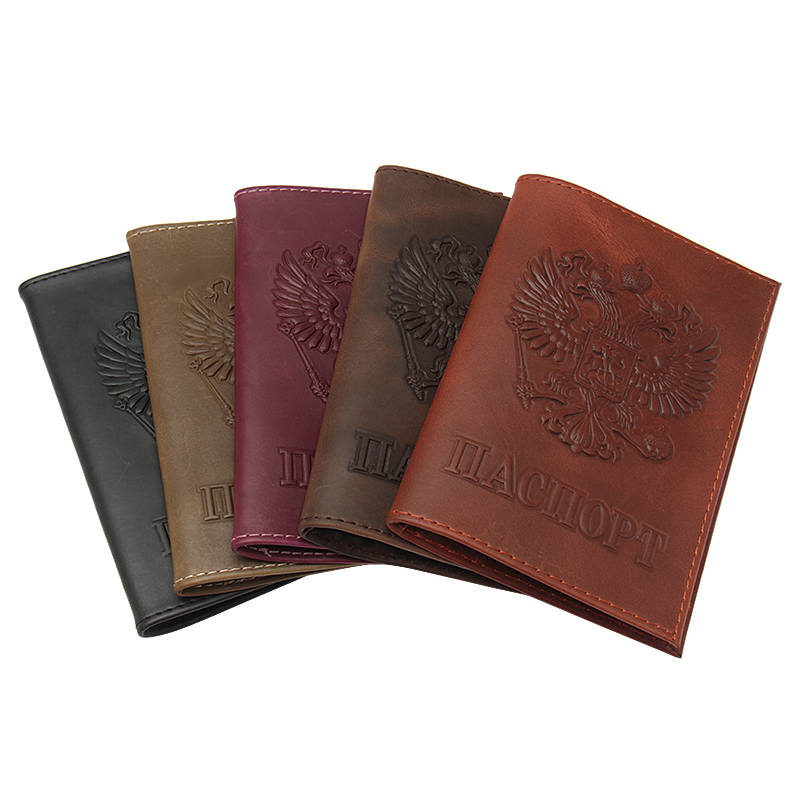 Vintage Style Russian Comfortable Crazy Horse Genuine Leather Passport Cover  Double Eagle Passport Holder