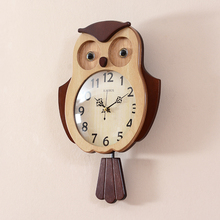 Parquet pendulum clock OWL Shaped   Wall Watch   pendulum clock   Animal clock   Quiet non-ticking pendulum clock