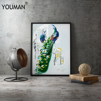 2019 Hot Sale Poster Green Peacock Framed Poster Hand Embroidery Canvas Room Decoration Print Poster Picture Canvas Home Decor