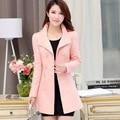 2016 Nova Moda Feminina Trench Coat Casacos Magro Double Breasted Elegante das Mulheres Impermeáveis QY15062701