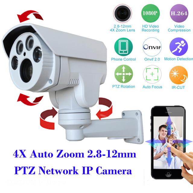 Hi3516c + sony 322 full hd 1080 p ptz cámara ip de seguridad al aire libre 4 xauto zoom 2.8-12mm varifocal lente 2.0mp cctv cámara ir cut