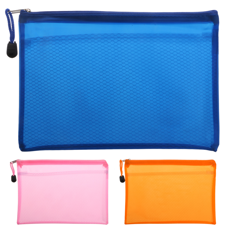 1 X Files Bag Document Bag A5 Zipper File Pocket Storage Organizer Office School Waterproof Blue,Orange, Pink