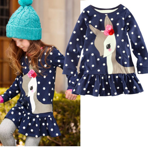 New 2017 Fashion 2y-6y Baby Girls Dress Cute Deer Long Sleeve Cotton Polka Dots Top Children For Girl Clothes toddlers girls dots deer pleated cotton dress long sleeve dresses