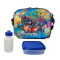 Avenger Cartoon kids lunch bag cooler thermal bag insulated lunch box bag for kids boys with box& bottle back to school