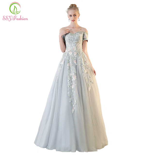 SSYFashion New High end Prom Dress Luxury Banquet Grey Lace ...