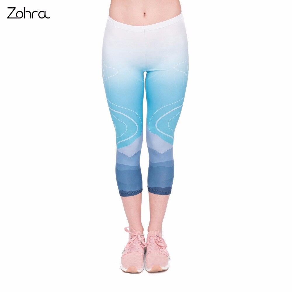 Zohra Hohe Qualität Sommer Frauen Capri Leggings Wilden Moutain Druck Sexy Mid-kalb 3/4 Fitness Bewegung Leggins Capri Hosen