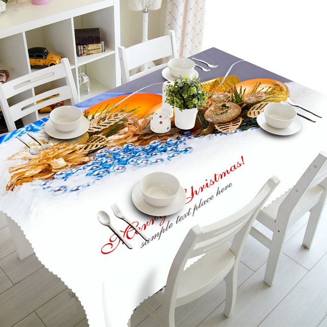 Landscape Still Life Merry Christmas Rectangular Printed Fabric Party  Picnic Pattern Decoration Washable Tablecloth 90*