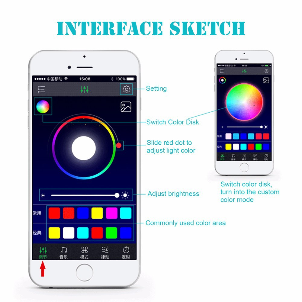 4x Car LED RGB Music Interior Atmosphere Floor Underdash Lighting RGB Music Control Strip Lights Kit Multicolor APP Bluetooth Controller for iPhone Android 6