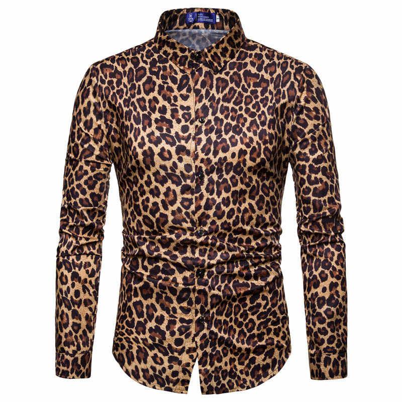 Осень 2018, модные рубашки в леопардовой раскраске, мужские рубашки с длинными рукавами, черные Пантеры, с цифровым принтом, большие размеры, уличная винтажная одежда