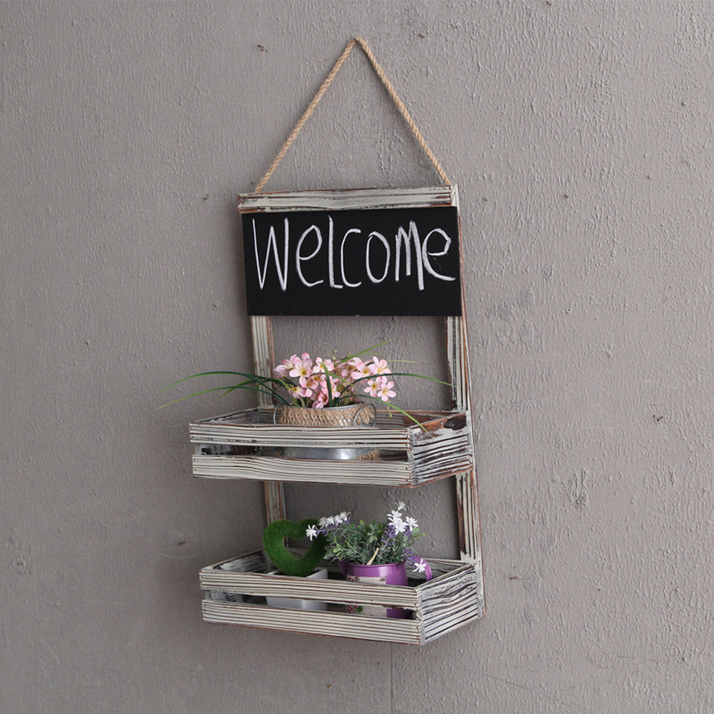 Pastoral retro creative small blackboard 2 layer log color shelf wall hanging flower stand wholesale lo813345 цена 2017