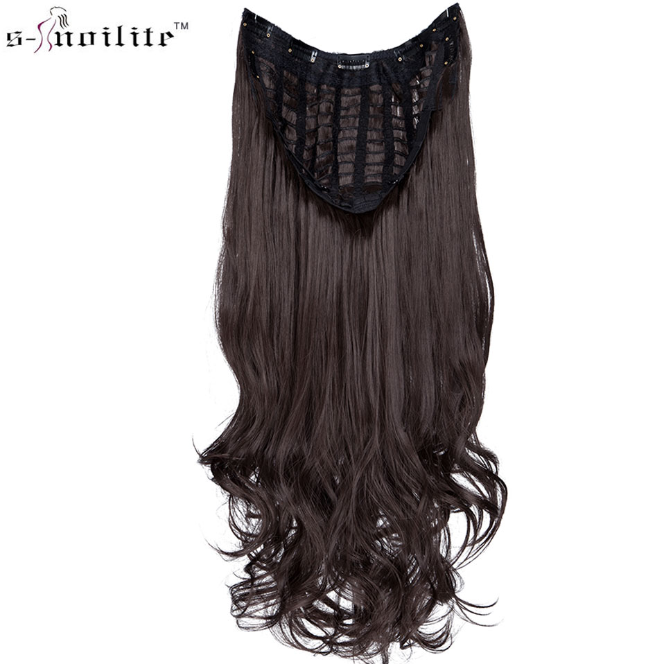 SNOILITE Upgrade Clip In One Piece Hair Extension U Part Extension Hair Synthetic Natural Hair Clip Ins Clip In Half Wig Brown