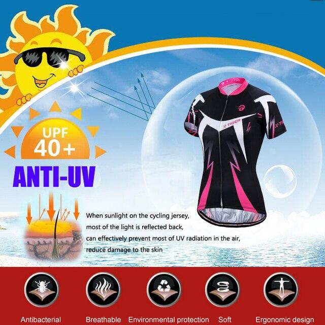 X-tiger conjunto de camisa de ciclismo feminino verão anti-uv ciclismo bicicleta roupas de secagem rápida mountain bike ciclismo conjunto 3