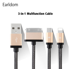Earldom 3 IN 1 USB Cable 1M 30PIN/Micro USB Cables For iPhone&Samsung Xiaomi Huawei Meizu LG etc Android Phone