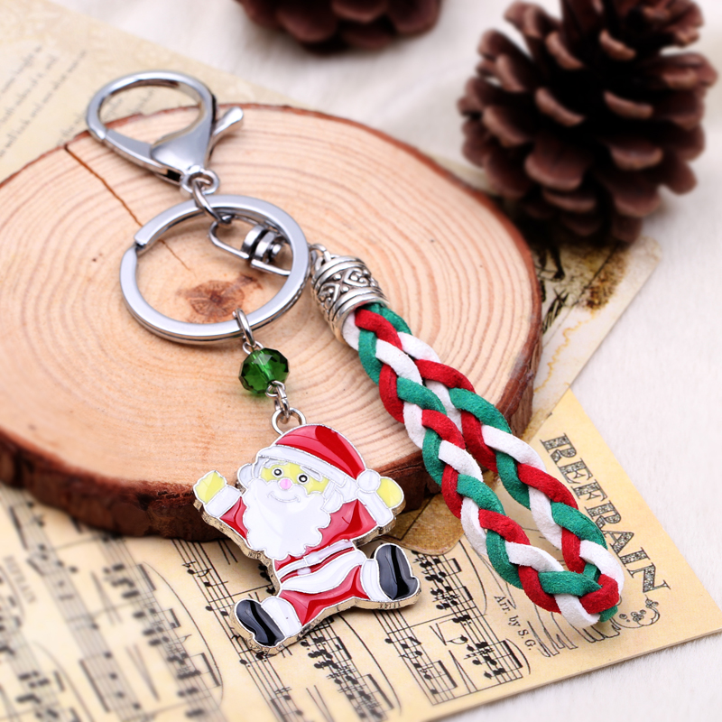 New design cute keychain for christmas gift cubre llaves leather key chain porta llaves Santa Claus key chain women jewelry 2016