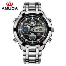 2017 Fashion Watches Men Luxury Brand AMUDA Gold Golden Watches Men Sports Quartz-watch Dual Time Relogio Masculino Esportivo