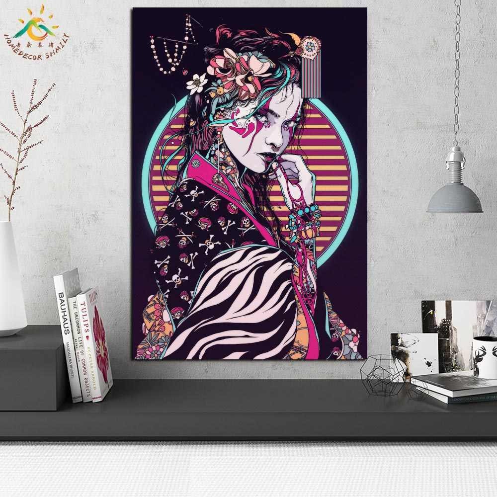 Canvas picture he XXL Pop Art Geisha Japan Face Woman Abstract Wall Poster
