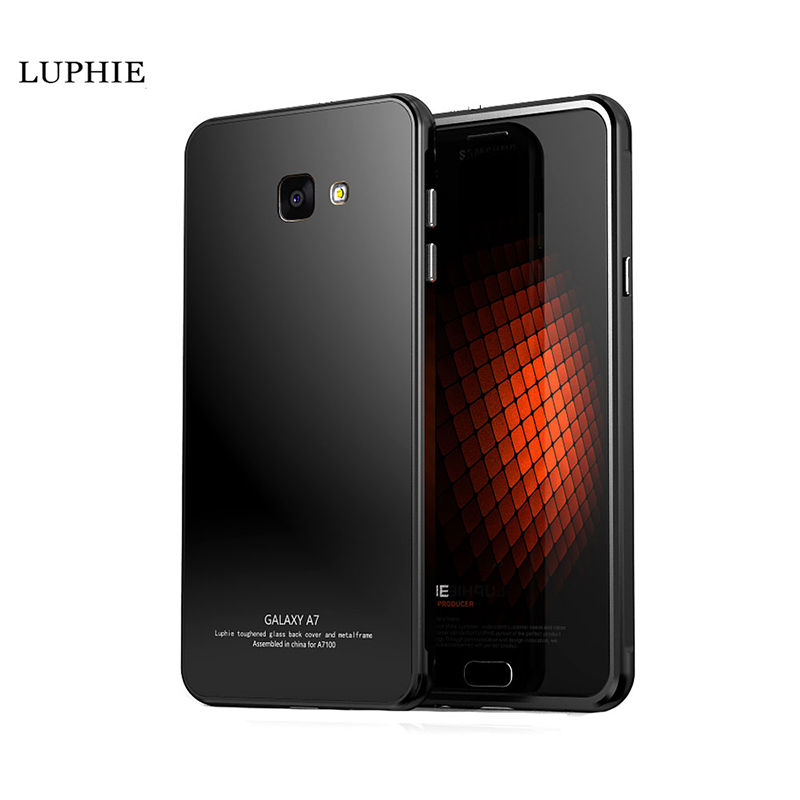 For Samsung Galaxy A7 A710F 2016 Case Luxury Aviation Aluminum Frame + 9H Tempered Glass Metal Bumper Cover for Galaxy A7 2016