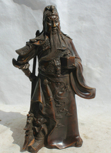 S1760 12 Chinese Bronze stand Knife dragon Guan Gong Yu Warrior God General Statue D0317