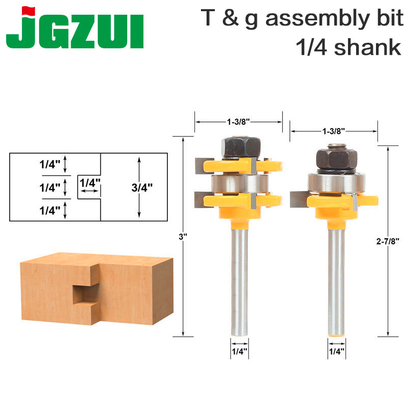 цена на 2 Bit Tongue and Groove Router Bit Set - 1/4 Shank - Shaker Woodworking Chisel Cutter Tool-RCT 15212
