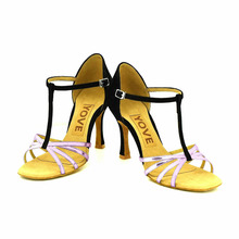 YOVE Dance Shoe Leather Women's Latin/ Salsa Dance Shoes 3.5″ Flare High Heel More Color LD-3094
