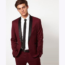 2017 New burgundy Wedding suits for men Morning Fashion Groom Tuxedos terno masculino mens Suits Slim Fit Man Suit Jacket+pant