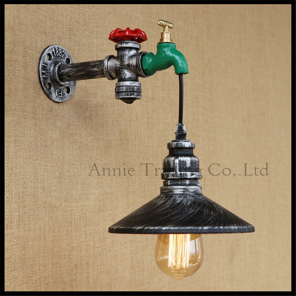 American style loft Water pipe faucet wall lamp sonces lighting restaurant bar balcony aisle stairs corridor luminaire lamparas m best price vintage industrial style loft balcony aisle stairs corridor creative minimalist restaurant bar long arm wall lamp