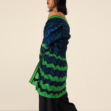 Italian Style Cardigans 2018 New Autumn European Women's Wave Saw Toothed Stripe Coloured Nine Sleeves Sweater Coat Blue Green