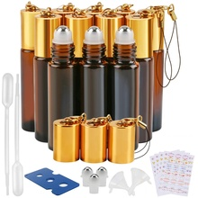 Glass Roller Bottle 12 Pack 10 ml Amber Essential Oil Bottles with Stainless Steel Balls and Hanging Lids