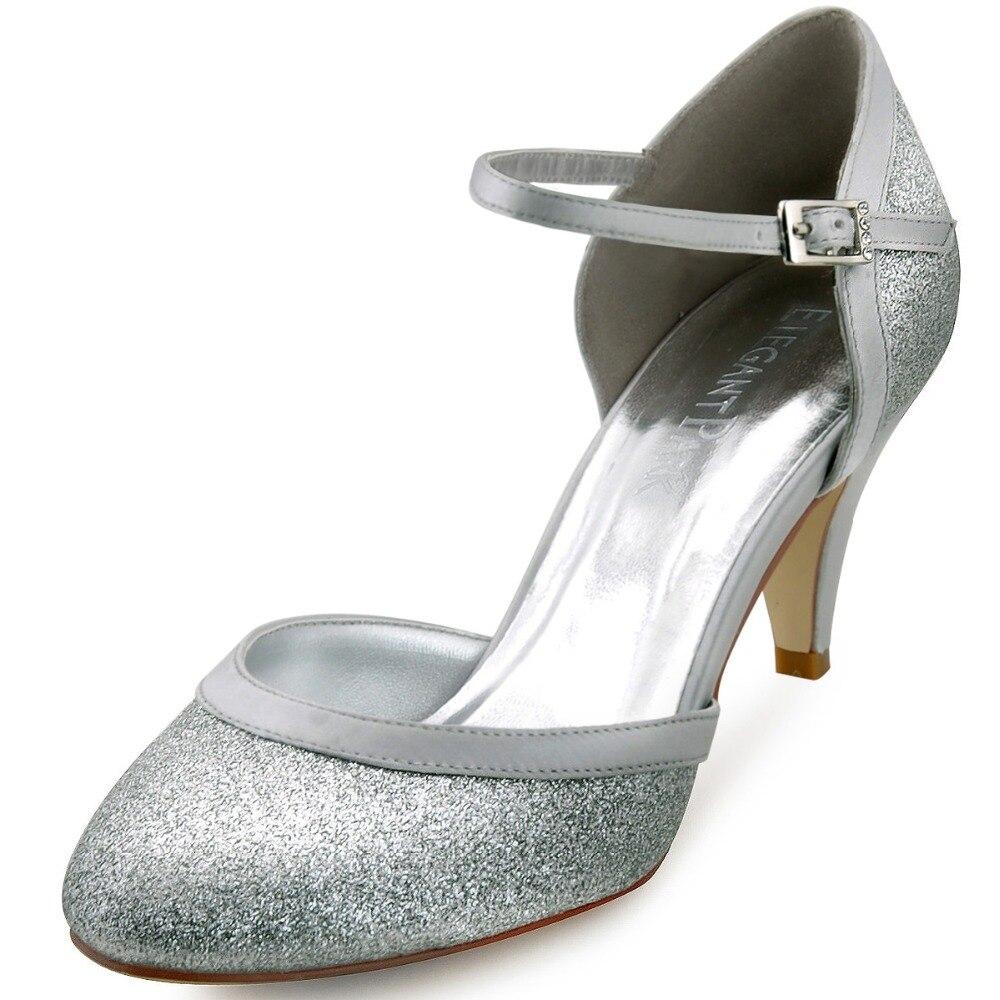 ФОТО HC1510  EU Fashion Pumps Glitter Silver Round Toe 2.8