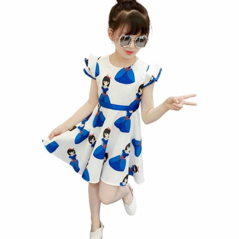 2019 Novo Verão das Crianças Meninas Vestido De Verão Crianças das Crianças 12 Estrangeira Pouco Vestido Da Menina Princesa Longo Vestido de Princesa